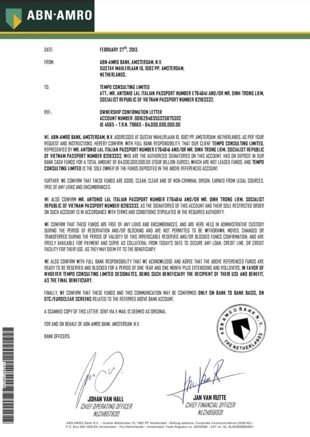 022713 Ownership Confirmation Letter ID 4565 4B Tempo Consulting Ltd.-