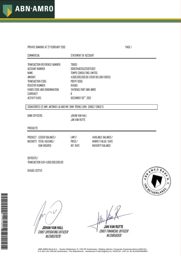 022713 Tear Sheet of Bank Statement ID 4565 4B Tempo Consulting Ltd-