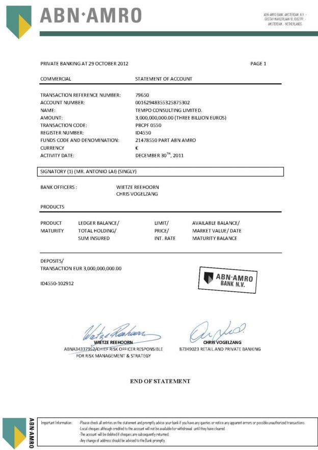 102912 Tear Sheet of Bank Statement ID 4550 3B Tempo Consulting Ltd.