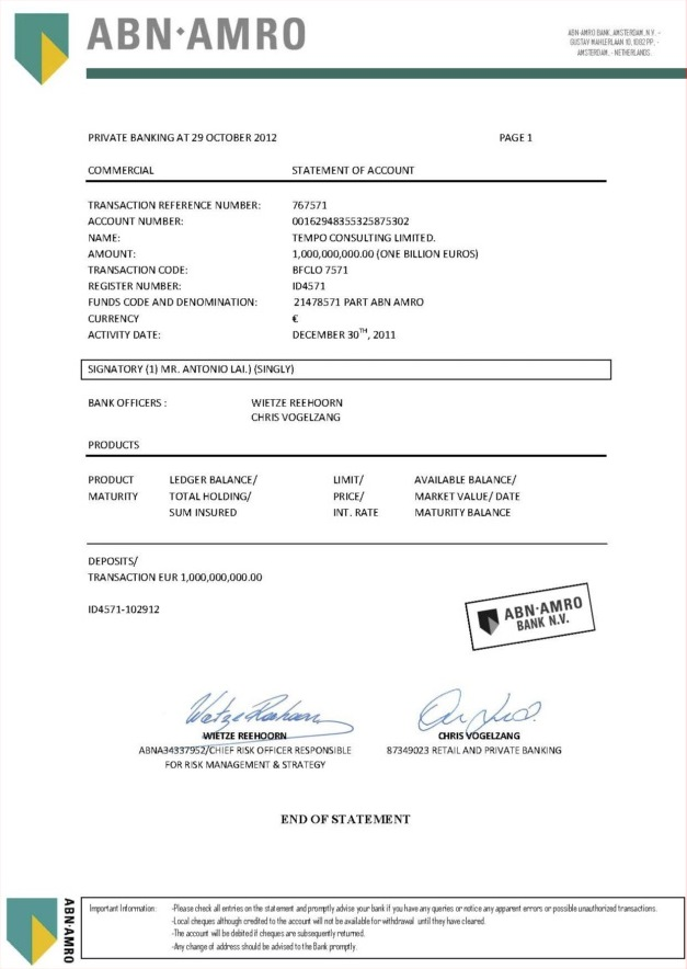 102912 Tear Sheet of Bank Statement ID 4571 1B Tempo Consulting Ltd.