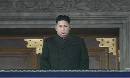 North Korea's new leader Kim Jong-un looks on during the memorial for late North Korean leader Kim Jong-il in Pyongyang, in this still image taken from video December 29, 2011.  REUTERS/KRT via Reuters TV