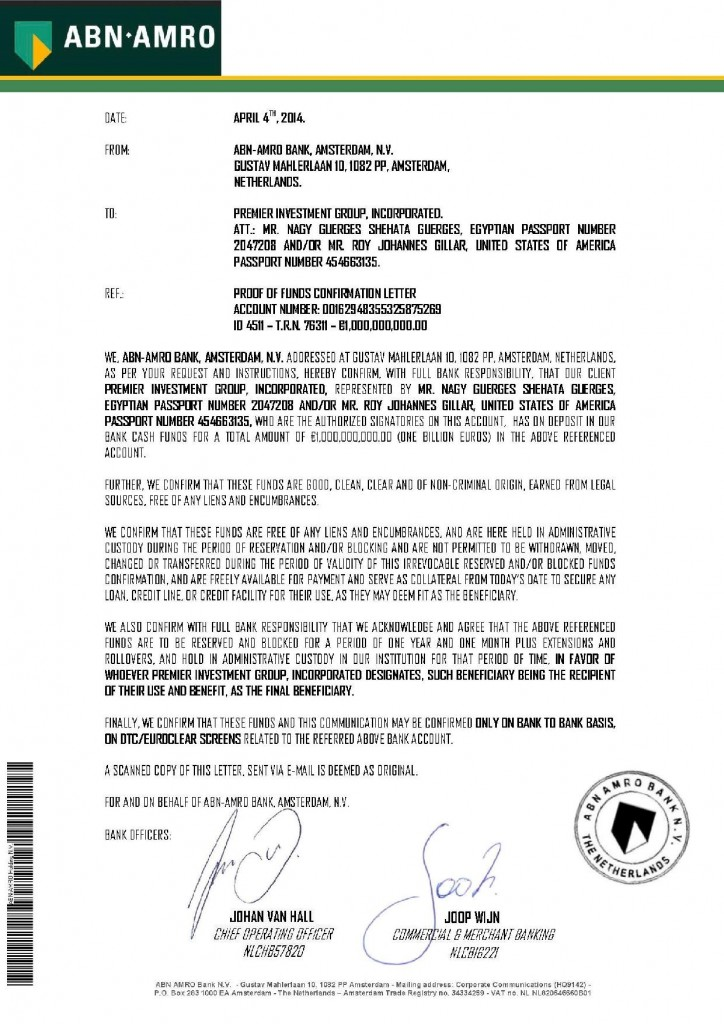 Proof of Funds Confirmation Letter- Nagy- Roy April 2014