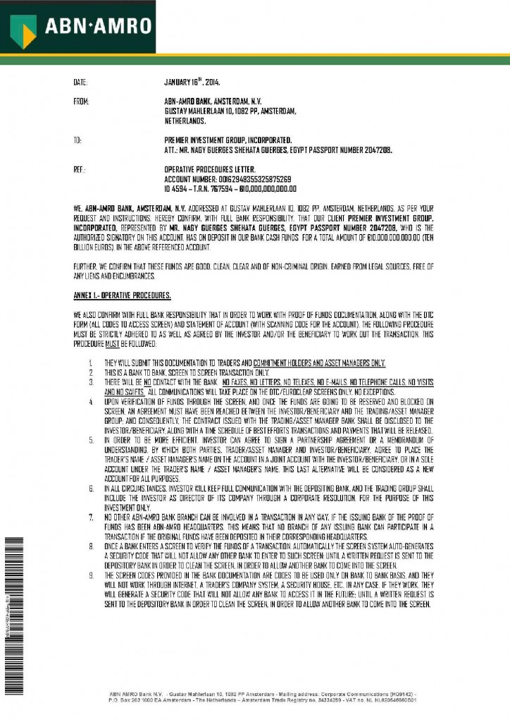 011614 Operative Procedures Letter ID 4594 _10B Premier Investment Group Inc-page-001