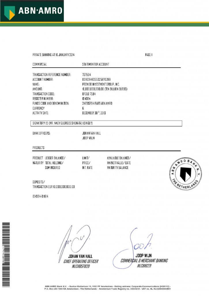 011614 Tear Sheet of Bank Statement ID 4594 _10B Premier Investment Group Inc-page-001