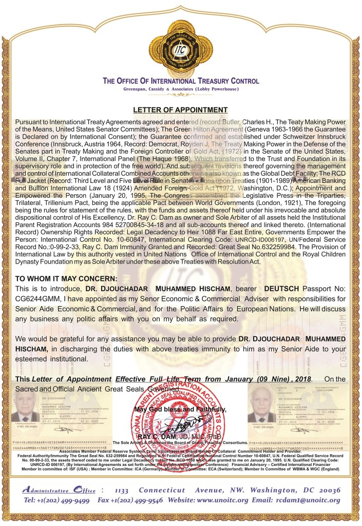 010918.Letter of Appointment to DR. DJOUCHADAR